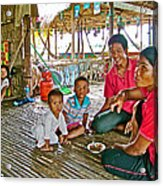 Family In Countryside Outside Of Siem Reap-cambodia Acrylic Print