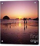Family On Beach Face Rock Bandon Acrylic Print