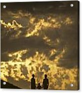 Family On Hillside Holding Hands And Facing Life Together. Acrylic Print