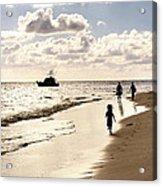 Family On Sunset Beach Acrylic Print