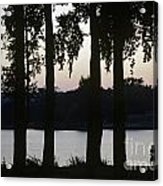 Family Silhouetted By Lake Acrylic Print