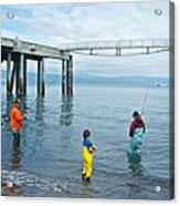 Family Surf Fishing In Kachemak Bay Off Homer Spit-ak Acrylic Print