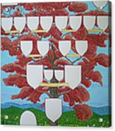 Family Tree Ruby-red Acrylic Print by Alix Mordant