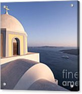 Famous Orthodox Church In Santorini Greece At Sunset Acrylic Print by Matteo Colombo