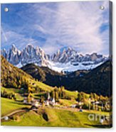 Famous View St Magdalena With Odle Mountains In The Dolomites Italy Acrylic Print