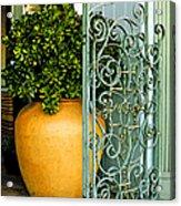 Fancy Gate And Plain Pot Acrylic Print