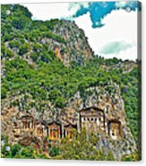 Fancy Tomb Carvings At The Top In Daylan-turkey Acrylic Print
