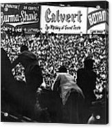 Fans In The Bleachers During A Baseball Game At Yankee Stadium Acrylic Print by Underwood Archives