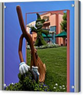 Fantasia Mickey And Broom Floral Walt Disney World Hollywood Studios Acrylic Print