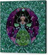 Fantasy Cat Fairy Lady On A Date With Yoda. Acrylic Print