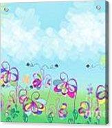 Fantasy Flower Garden - Childrens Digital Art Acrylic Print