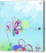 Fantasy Garden Chisdren's Art - Side Panel 2 Acrylic Print