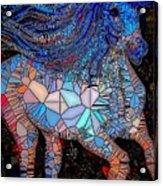 Fantasy Horse Mosaic Blue Acrylic Print