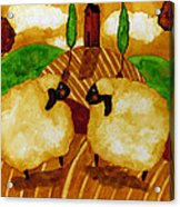 Farm Animals Countryside Sheep Italian Whimsical Folk Debi Hubbs Children Art Acrylic Print
