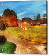 Farm - Barn -  A Walk In The Country Acrylic Print by Mike Savad
