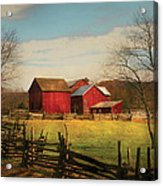 Farm - Barn - Just Up The Path Acrylic Print by Mike Savad