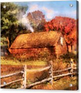 Farm - Barn - Our Cabin Acrylic Print by Mike Savad