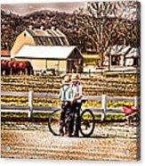 Farm Boys Country Exchange Acrylic Print by Randall Branham