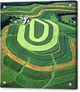 Farm Greens And Hillside Contour Plowing Acrylic Print