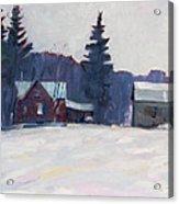 Farm In The Snow Acrylic Print