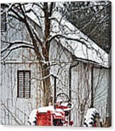 Farmall Tractor In Winter Acrylic Print by Timothy Flanigan
