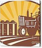 Farmer Driving Vintage Tractor Retro Woodcut Acrylic Print