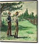 Farmers In Pasture With Trees 1885 Hand Tinted Etching  Acrylic Print