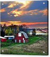 Farmstead At Sunset Acrylic Print by Julie Dant