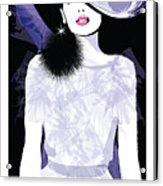 Fashion Woman Model With A Black Hat - Acrylic Print