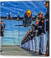 Fat Albert Over The Usmc Silent Drill Team Acrylic Print