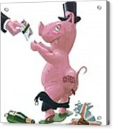 Fat British Bank Pig Getting Government Handout Acrylic Print by Martin Davey