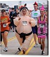 Fat Lady Ghost Goblin 5k Runners In Costumes Acrylic Print