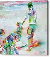Father And Children Acrylic Print
