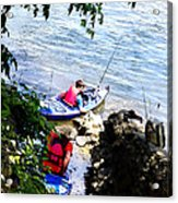 Father And Son Launching Kayaks Acrylic Print