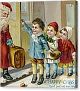 Father Christmas Disembarking Train Acrylic Print by Mary Evans
