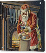 Father Christmas Filling Children's Stockings Acrylic Print