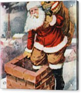 Father Christmas Popping Down The Chimney To Deliver Gifts To The Good.  Acrylic Print