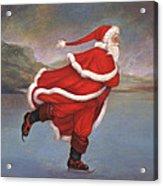 Father Christmas Skating On Duddingston Loch Acrylic Print