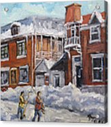 Faubourg A Melasse Montreal - Joys Of Winter By Prankearts Acrylic Print
