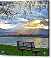 Favorite Bench And Lake View Acrylic Print
