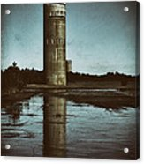 Fct3 Fire Control Tower Reflections In Sepia Acrylic Print