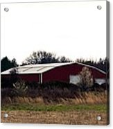 February's Red Barn Acrylic Print