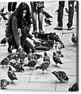 Feeding The Pigeons Acrylic Print