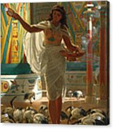 Feeding The Sacred Ibis In The Halls Of Karnac Acrylic Print