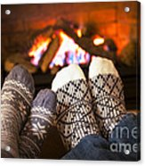 Feet Warming By Fireplace Acrylic Print