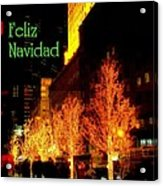 Feliz Navidad - Merry Christmas In New York - Trees And Star Holiday And Christmas Card Acrylic Print