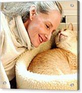 Female And Cat Acrylic Print