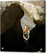 Female Belaying Between Rocks Acrylic Print