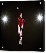 Female Gymnast On Balancing Beam Acrylic Print