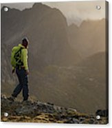Female Hiker On Summit Of Tverrfjellet Acrylic Print